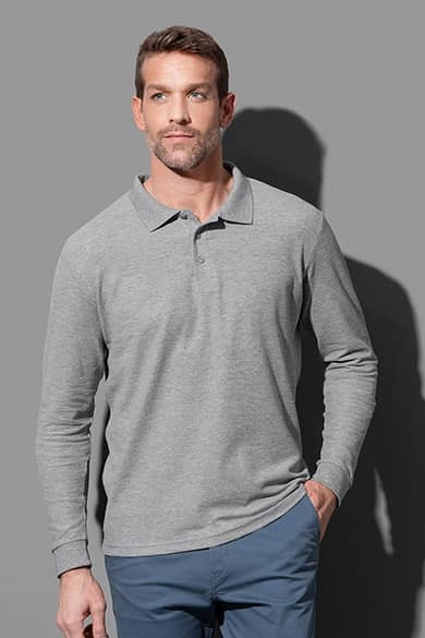 Long sleeve polo shirt for men