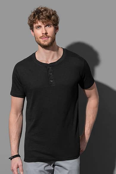 Crew neck T-shirt with buttons for men
