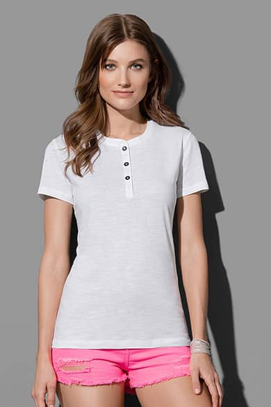 Crew neck T-shirt with buttons for women